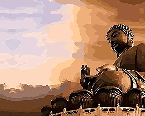 FSKJSZYH Rahmenlose DIY Grand Buddha Malen Nach Zahlen Malen Auf Leinwand Acryl Färbung Für Hauptwanddekoration 40X50 cm