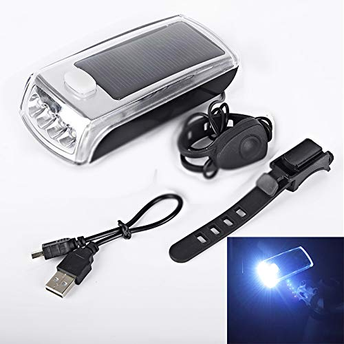 OHHCO Fahrrad-Licht-3 Licht-Modi Super Bright 800mAh USB-Solar nachladbare wasserdichte Bergstraße Fahrradbeleuchtung Fits All Mountain Road Fahrräder