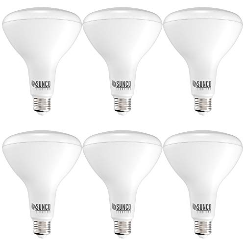 Sunco Lighting 6 Pack BR40 LED Bulb, 17W=100W, Dimmable, 5000K Daylight, 1400 LM, E26 Base, Indoor Flood Light for Cans - UL & Energy Star