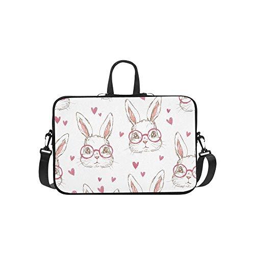 15.6″Durable Hombro Mensajero Bolsa maletín PC Patrón de corazón de Gafas de Conejo Infantil Moda Impermeable Ordenador Portátil/portátil/Tablets