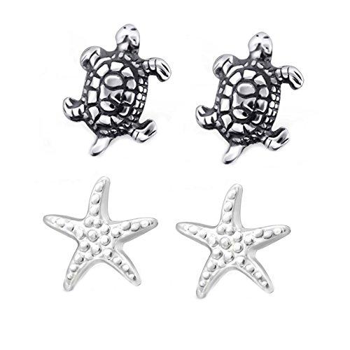 SL-Silver - Set di 2 Paia di Orecchini a Forma di Tartaruga e Stella Marina, in Argento Sterling 925, in Confezione Regalo