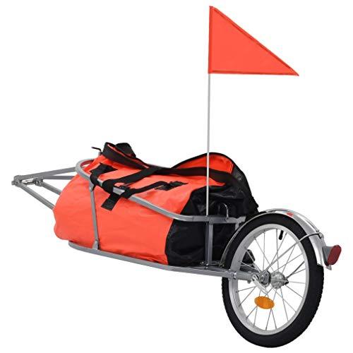 Tidyard Gepäck Fahrradanhänger mit Tasche,Gesamtgröße:151 x 43 x 40 cm (L x B x H),Fahrrad Anhänger Transportanhänger Lastenanhänger Mit 2 Speichenreflektoren,Handwage Tragkraft 30 kg