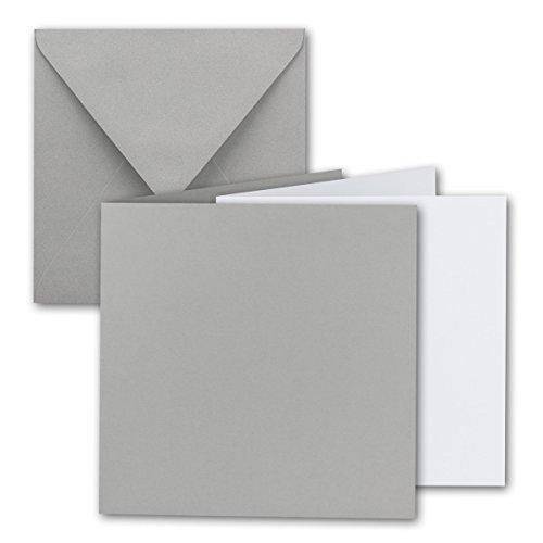 Quadratisches Falt-Karten-Set I 15 x 15 cm - mit Brief-Umschlägen & Einlege-Blätter I Hellgrau I 25 Stück I KomplettpaketI Qualitätsmarke: FarbenFroh® von Gustav NEUSER®
