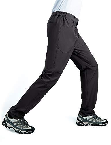 Cycorld Wanderhose Herren Trekkinghose, Atmungsaktiv Herren Outdoorhose Roll-up Dehnbare Hiking Pants mit 5 Tiefe Taschen, für Wandern, Klettern, Reisen und Freizeit (Schwarz, L)