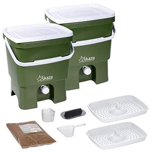 Skaza Bokashi Organko Set (2 x 16 litres) | 2X Bio Composteur de Cuisine et Jardin Exterieur en Plastique Recyclé (Olive-Blanc) | Kit de Démarrage avec Activateur de Fermentation Bokashi Organko 1 kg