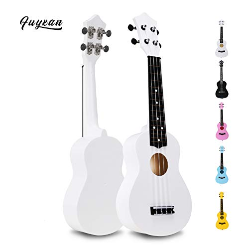 Soprano Ukulele Hawaiian Guitar Musical Instrument with Nylon Strings for Students Beginners Kids Students, FUYXAN 21 Inch Ukulele Toy for Kids Starter Uke for Gift, White
