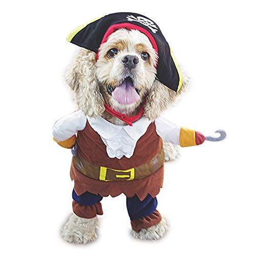 WORDERFUL Dog Pirates Costume Halloween Pet Clothes Cat Caribbean Style Dress Cosplay (L)