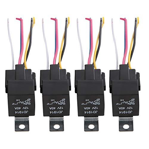 GOTOTOP Relais, 5 stuks 12V KFZ Relais Set met stopcontact, 5-polig voertuig motor relais met draden, omschakelrelais