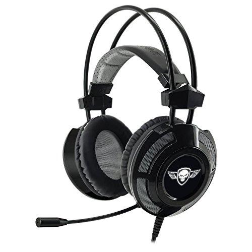 SPIRIT OF GAMER - Elite-H70 - Auriculares de audio PC Gamer Black Edition - Micrófono flexible - Luz de fondo LED blanca fría - Diseño ultra y sonido envolvente virtual 7.1