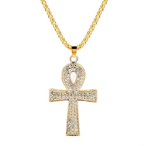 YUNMENG Colgante de Cruz Ankh Helado joyería egipcia Bling Rhinestone Crystal Key of Life Cross Collar con Colgante de Hip Hop para Hombre