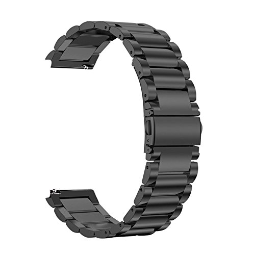 Robustrion Stainless Steel Metal Clasp Buckle Band for Samsung Galaxy Watch 46mm / Gear S3 Frontier Strap - Black