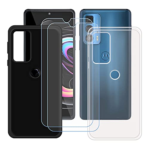 "szjckj 2 x Funda para Motorola Edge 20 Pro (6,7"")+ 2 x Protector de Pantalla, Case Cover Carcasa Bumper Negro + Transparente Clear TPU Silicone Cristal Vidrio Templado."