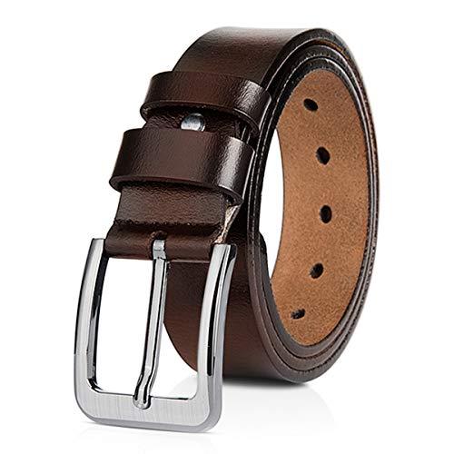 DORRISO Moda Cinturón Hombre de Cuero 100% Cuero Genuino Cinturones para Jeans Negocio Casual 145cm 155cm 160cm Marrón