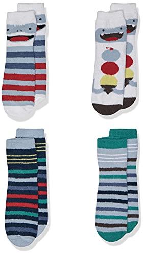 Spotted Zebra Boys' Kids Fuzzy Cozy Socks, 4-Pack Yeti, One Size