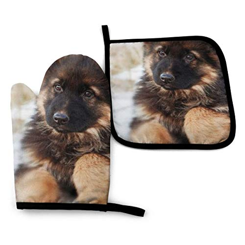 VGFJHNDF German Shepherd Puppy Oven Mitts and Pot Holders,Resistant Hot Pads with Polyester Non-Slip BBQ Gloves for Kitchen,Cooking,Baking,Grilling