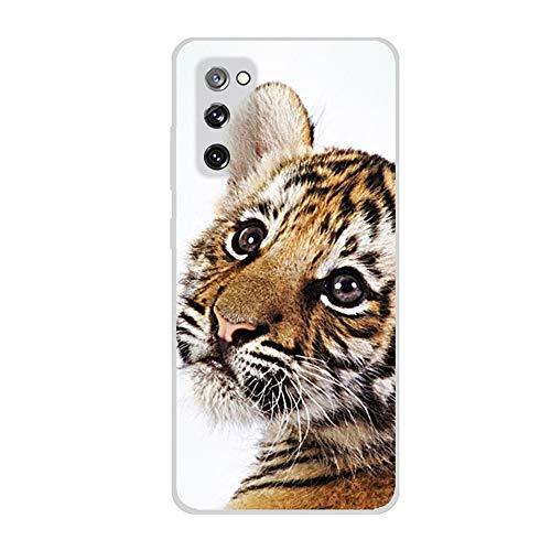 SEEYA - Funda de silicona para Samsung Galaxy S20 FE, diseño de tigre de bebé ultra delgado cristal transparente suave TPU a prueba de golpes de gel protector para Galaxy S20 FE