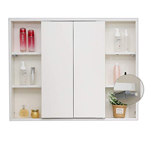 Armoire de Toilette à Porte Pliante Armoire à Pharmacie en Bois Support de Rangement Mural Encastré ou Montage en Surface (Color : Blanc, Size : 90 * 70cm)