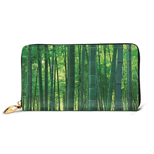 Women's Long Leather Card Holder Purse Zipper Buckle Elegant Clutch Wallet, Asian Oriental Exotic Bamboo Trees In The Rainforest Horizontal Jungle Stalk Nature View,Sleek and Slim Travel Purse