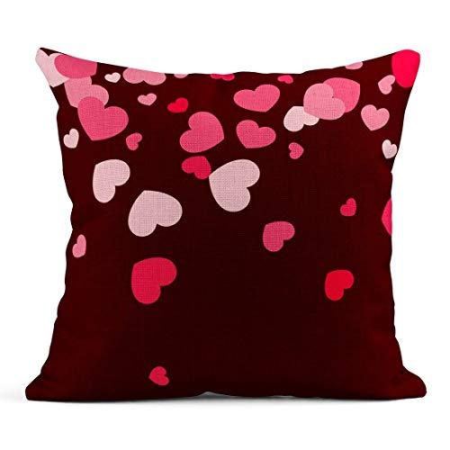Cojín Corazones Rosados Caer al Azar en Rojo Patrón del día de San Valentín Amor disperso romántico Volantes de Dulce Momento Ventas Cojín de Lino Almohada Decorativa para el hogar