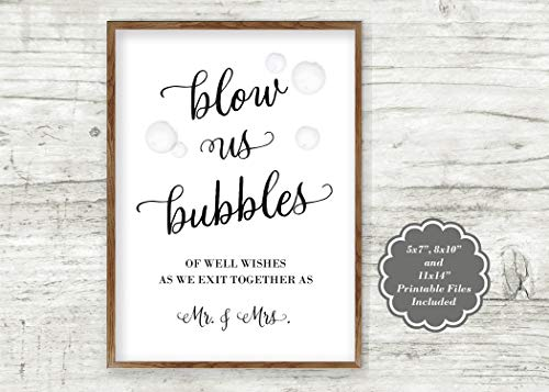 """Schild mit Aufschrift """"Blow Us Bubbles of Well Wishes as We Exit Together as Mr and Mrs"""", inklusive Geschenk"""