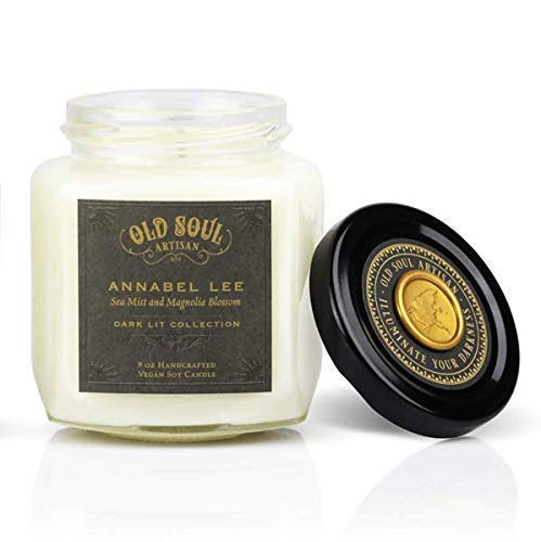 Annabel Lee - Sea Mist and Magnolia Candle Edgar Allan Poe Gothic Book Lover Gift Scented Soy - 9 oz