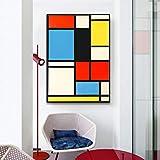 Danjiao Piet Cornelies Mondrian Classic Art Geometry Line Rojo Azul Amarillo Composición Lienzo Impresión Pintura Poster Decoración De La Pared Decoración Para El Hogar Sala De Estar Decor 40x60cm