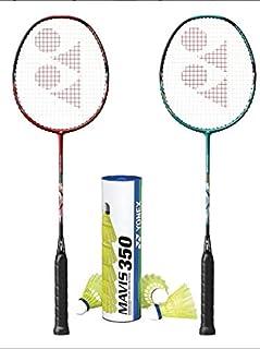 YONEX 2 Nanoflare Drive with Mavis 350 Yellow Medium Shuttle Badminton Combo Set