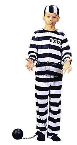 Foxxeo Sträflingskostüm Gefangener für Kinder Größe 152-158