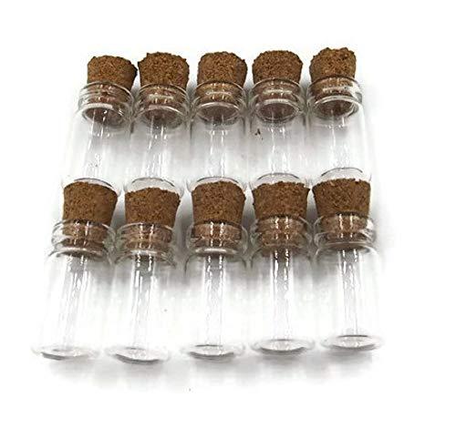 10pieza, Mini–Botellas de cristal con Corchos, forma de cilindro, 2,2cmx1cm