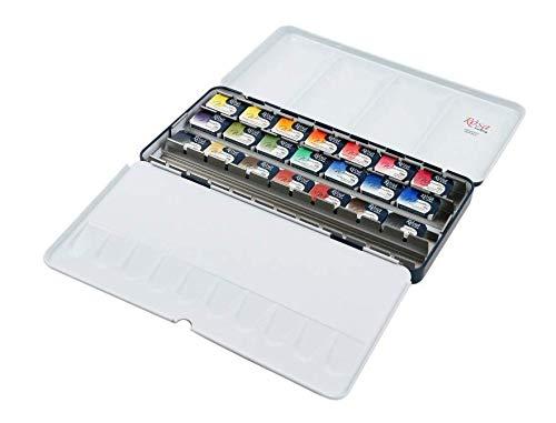 ROSA Gallery - Juego de pintura de acuarela clásica, 21 colores, surtido, caja de metal cubeta