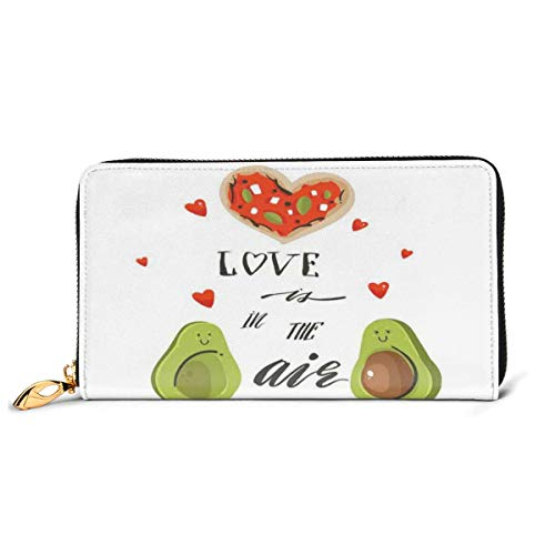 Women's Long Leather Card Holder Purse Zipper Buckle Elegant Clutch Wallet, Valentines Day Themed Cartoon Avocado Couple In Love with Graphic Heart Shapes,Sleek and Slim Travel Purse