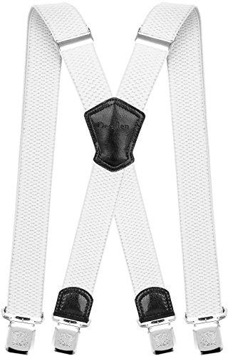 Decalen Hosenträger für Herren Breit 4 cm mit sehr Starken 4 Metall Clip Lang Einheitsgröße für Männer und Damen Einstellbar und Elastisch X Style (Weiß)