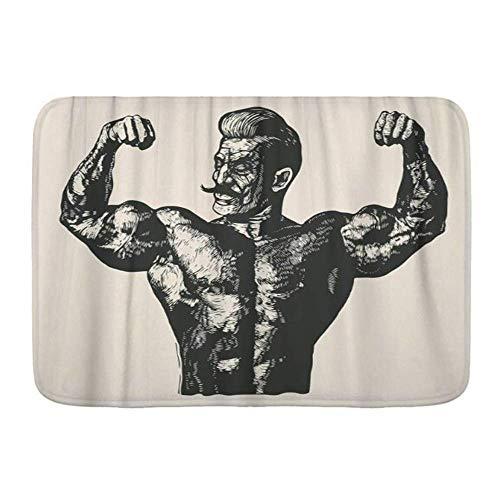 N\A Badezimmerteppich Teppich rutschfest, Mann Bodybuilder mit Schnurrbart Retro Gravur Linolschnitt Stil Muskel, Mikrofaser Moderne Badteppiche Weiche Badematte