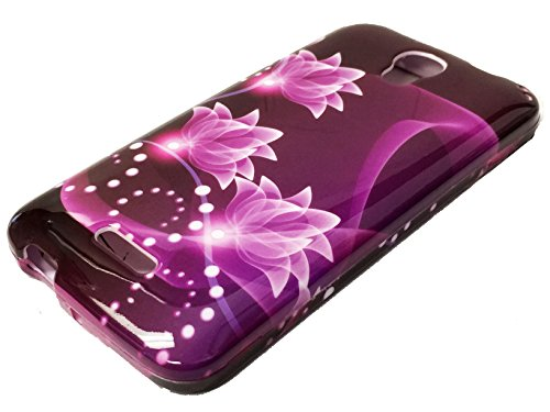for Alcatel onetouch Pop Astro 5042T Hard Protector Snap on Phone Cover Case + Happy Face Phone Dust Plug (Purple Lotus)