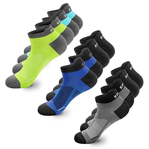 Sneaker Socken Herren Damen 6|12 Paar Kurze Baumwollsocken Sportsocken tennissocken Schwarz Weiß Bunte(12p Mehrfarbig,39-42)