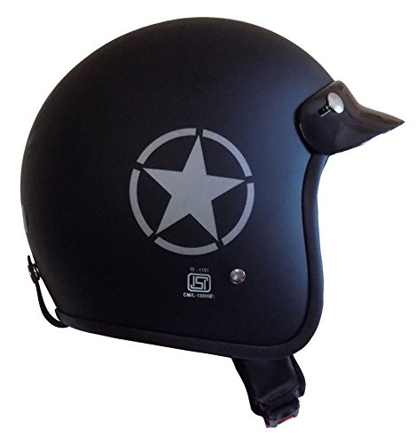 Anokhe Collections ISI Certified Guardian Open Face Helmet (Matte Black_Medium)