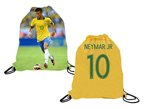 Neymar Jr Rucksack mit Kordelzug, Trikot-Stil, Premium-Schultasche für Neymar Fußball-Fans, rot, drawstring backpack
