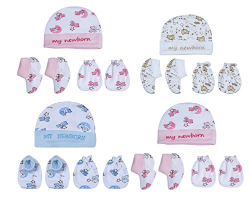 My Newborn Baby Mitten Cap Booty Set for boy, Girl 0-3 Month, Mulitcolor-Pack of 4