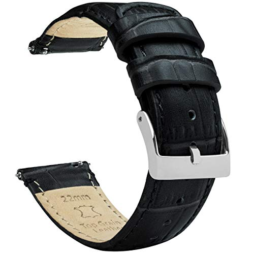 20mm Black - Standard Length - Barton Alligator Grain - Quick Release Leather Watch Bands