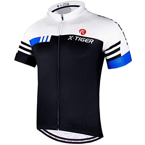 X-TIGER Camisetas de Ciclismo para Hombre,Camiseta Corta,Top de Ciclismo,Jerseys de Ciclismo, Ropa de Ciclismo, Mountain Bike/MTB Shirt, Transpirable y Que Absorbe El Sudor, Secado Rápido (M,Azul