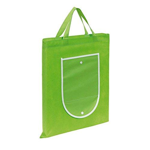 Sac cabas sac de transport Vert pliable réutilisable avec bouton pression Fermeture 40 x 47,5 cm