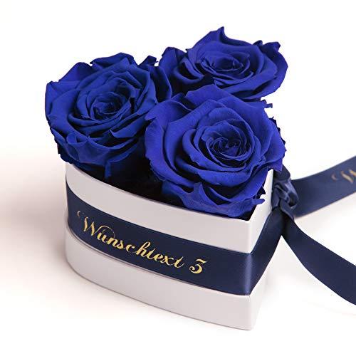 ROSEMARIE SCHULZ Heidelberg Rosenbox Herzform 3 konservierte Rosen in Box haltbar (Blau, Wunschtext)