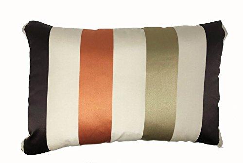 Lancashire Textiles Karok en Terre Cuite Marron à Rayures Tassel Boudoir 60 cm x 40 cm Housse de Coussin Uniquement
