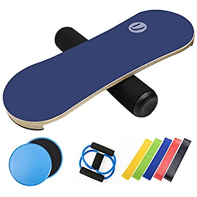 Rootmemory Balance Board Trainer Set, Wobble Roller & Workout Guide for Balancing Fitness Sports, Unique Gift for Athletes, Kids and Adults(Blue)