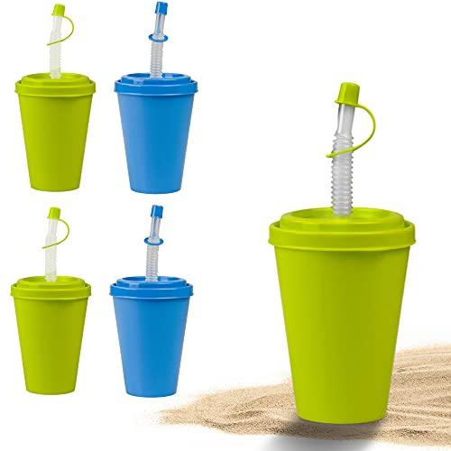 Juego de vasos con pajita y tapa Hausfelder - vaso reutilizable con tapa y pajita de 400 ml para niños y adultos