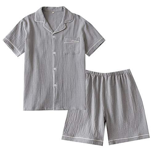 Pretyzoom Artículo: 1 Set Hombre Algodón Pijamas Hombre Ropa de Dormir Manga Larga Casa Salón Noche Desgaste Top y Pantalones Conjunto de Pijama para Uso Diario en el Hogar (Gris Talla L)