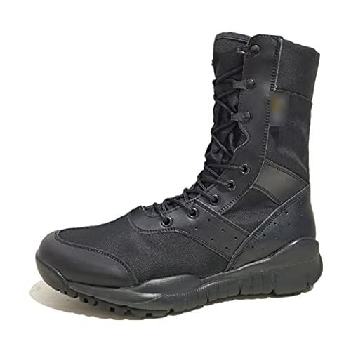 Ultraligero de gran tamaño zapatos de senderismo al aire libre impermeable botas tácticas de los hombres duraderos zapatos deportivos transpirable, Lona negra., 41 EU