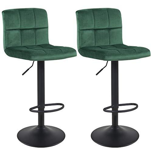 Duhome Barhocker 2X Barstuhl Kunstleder oder Stoff Tresenhocker Bar Sessel gut gepolstert höhenverstellbar mit Lehne eckig 451Y, Farbe:Dunkel Grün, Material:Samt