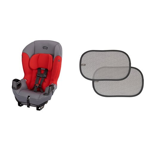 Best Prices! Evenflo Sonus Convertible Car Seat, Lava Red with 2 Piece Car Window Cling Shades, Grey Chevron