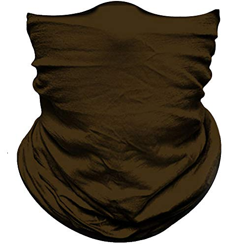 Face Mask For Sun Dust Wind Protection Durable Breathable Seamless Face Mask Headband Bandana for Men Women, Lightweight Thin Neck Gaiter for Motorcycle Fishing Hunting Outdoor Sport Solid Deep Brown
